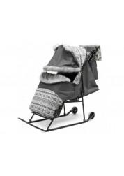 Скандинавия Cанки - коляска Авто складная рама, регулируемая ручка, варежки, сумка ABC academy 2YBA-С-Ч