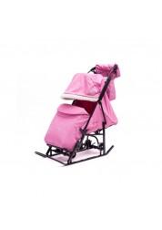 ABC academy Арктика М (В)Cанки - коляска розовые перекидная родительская ручка, муфта, сумка