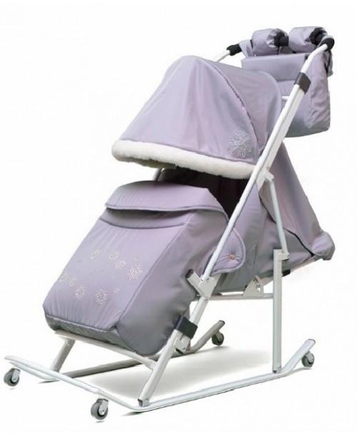 ABC academy Арктика М (В)Cанки - коляска светло серые,перекидная родительская ручка, муфта, сумка