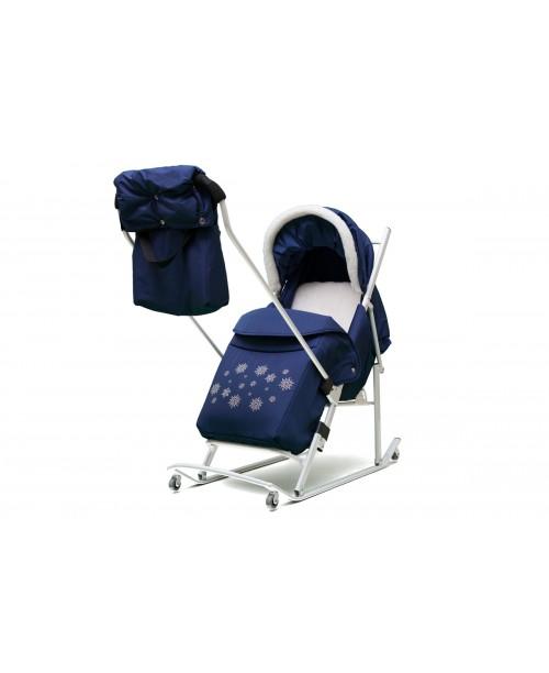 ABC academy Арктика М (В)Cанки - коляска синие, перекидная родительская ручка, муфта, сумка