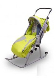 """Санки-коляска """"Ника детям 3"""" (с колесиками,родительской сумкой,ручкой,зеленый)"""