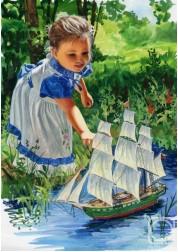 Картина Девочка с Парусником, 40*50 см Раскраски по номерам (PB) Q852