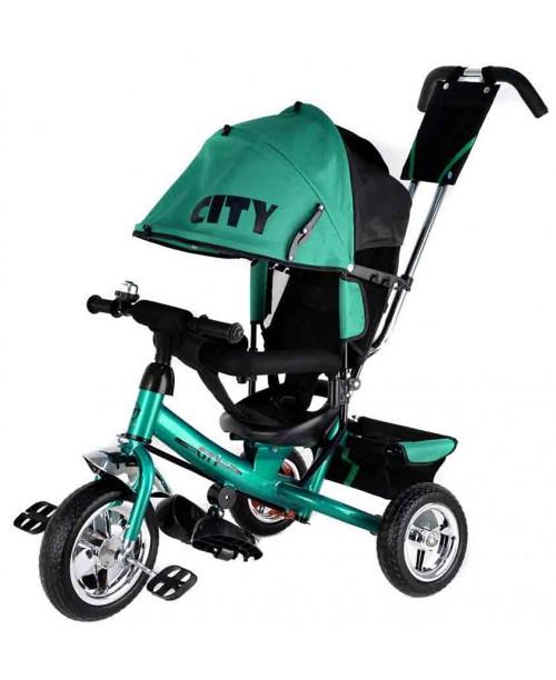 "Велосипед 3-х колесный City (10""/8"")pvc, ПВХ колесо, зеленый Trike JW7GS"