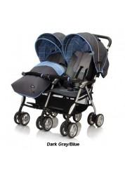 Коляска для двойни Elegant Twin (трость), (Dark Gray/Blue) Jetem TS-5