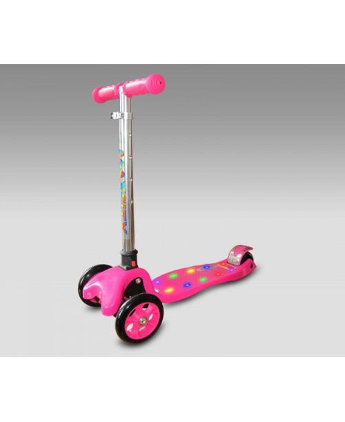 Самокат Flex с светодиодной подсветкой, розовый MaxCity MC Flex-P