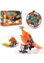 Трансформер динозавр Велоцираптор 2 в 1 Dinobots с мягкими снарядами, трансформируется в бластер, оранжевый SB378