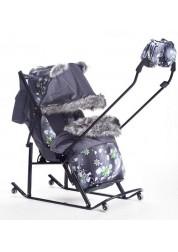 Санки-коляска Premium Plus 2014 серо-зеленые снежинки Kristy KL-PP