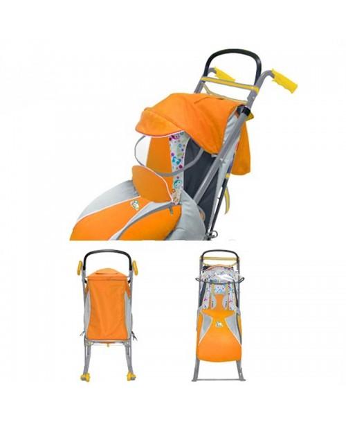 """Санки-коляска """"Ника детям 3"""" (с колесиками, родительской ручкой,оранжевый)"""
