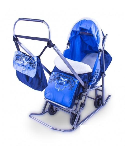 Санки Sofi Luxury тюбетейка, синий (складн. с выдв. колесами, мех овчина)