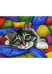Раскраски по номерам. Картина Котик в лоскутках, 40*50 см