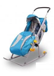 """Санки-коляска """"Ника детям 3"""" (с колесиками,родительской ручкой,сумкой,бирюза)"""