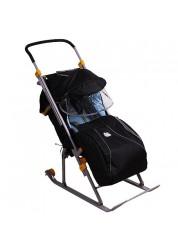 """Санки-коляска """"Ника детям 3"""" (с колесиками, родительской сумкой,ручкой,черная ночь)"""