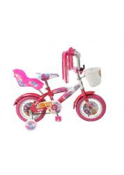 Велосипедсипед Navigator WINX двухколесный с боковыми колесами и корзинкой на руле (розовый)