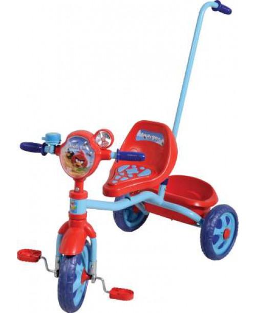 Велосипед детский 1toy Angry Birds 3-х колесный 10 дюймовый с ручкой Т56840