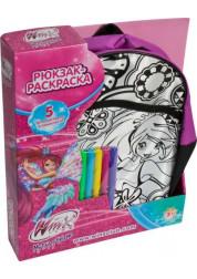 1toy Winx рюкзак - раскраска 5 фломастеров Т56989