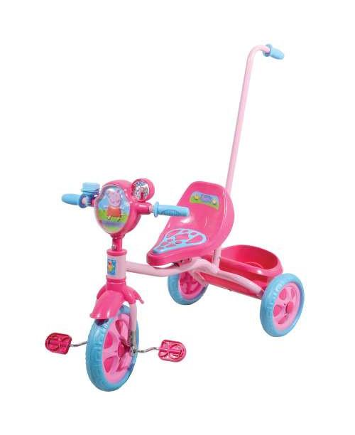 Велосипед детский 1toy Peppa3-х колесный 10 дюймовый с ручкой Т57572