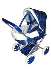 1toy коляска для кукол с люлькой премиум 56х36х645см синяя с бантиками Т57326