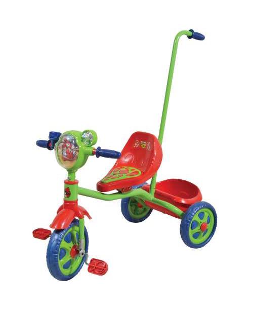 Велосипед детский 1toy Angry Birds Go 3-х колесный 10 дюймовый с ручкой Т57659