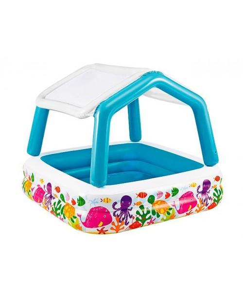 Детский бассейн с навесом от солнца 157х157х122см Intex 57470