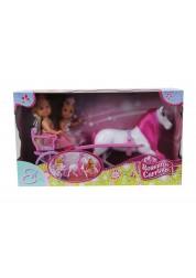 Кукла Еви принцесса с лошадь и каретой
