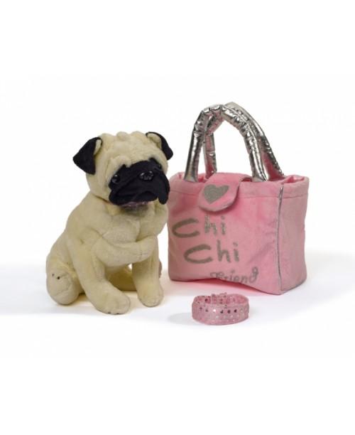 Chi Chi Love Мопс лапы гнутся с сумкой и браслетом