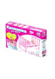 Кроватка для куклы большая розовая