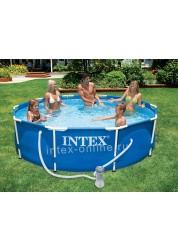 Каркасный Бассейн каркасный с металлическим ободком (305х76 см) в комплекте с фильтр. Насосом Intex 28202